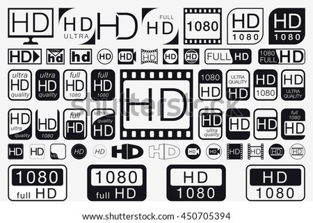Big Set HD Icons. HD Labels. 51 Black and White Signs