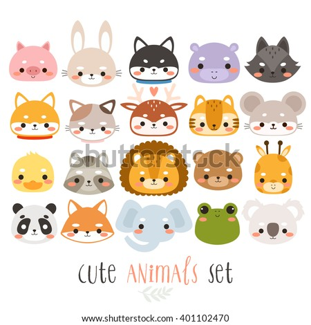 big set illustrations of cute cartoon animals. can be used for cards, birthday invitations or like stickers - stock vector