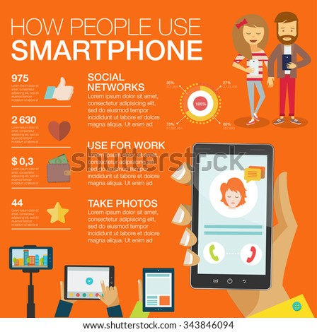 Big set Infographic with charts, icons, diagrams, other elements. How people use smartphone: social networks, camera, looking news, email, video, picture. Vector illustration, flat modern style - stock vector