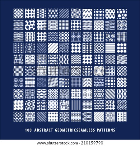 Big set of abstract geometric seamless patterns. - stock vector