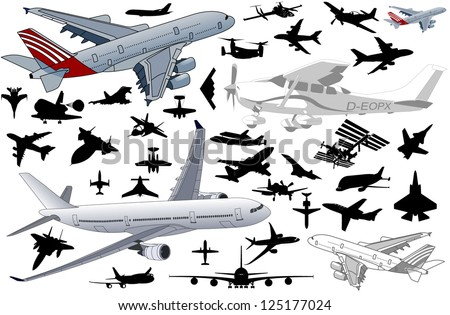 Big set of Airplanes in vector art in very high detail - stock vector