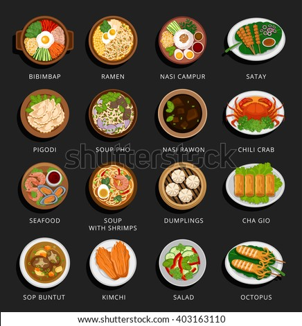 Big set of asian food. Vietnamese, Korean, Indonesian, Chinese and Japanese cuisine. Various food dishes. Vector flat illustration. Can be used for layout, advertising and web design. - stock vector