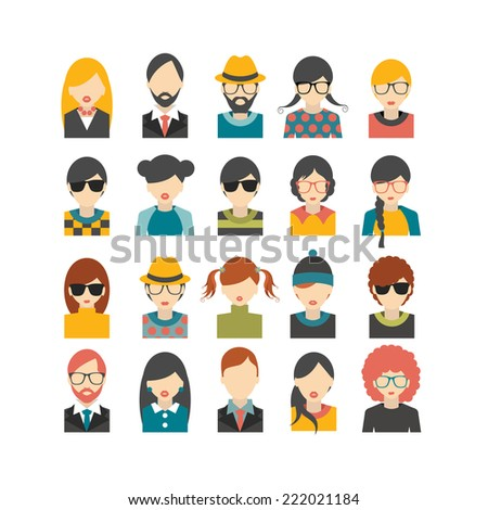 Big set of avatars profile pictures flat icons. Vector illustration. - stock vector