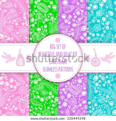 Big set of beautiful and gentle seamless patterns for the New Year and Christmas. A selection of patterns for packaging, postcards, background. Seamless New Year's background. - stock vector