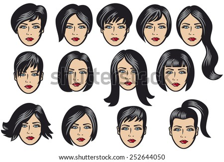 big set of black hair styling for woman (big set of vector hair styling, hair style samples for women, hairstyles of women, hair styles, women hair vector) - stock vector