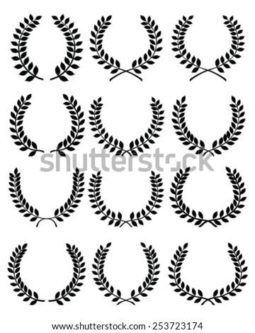 Big set of black silhouettes of laurel wreaths, vector - stock vector