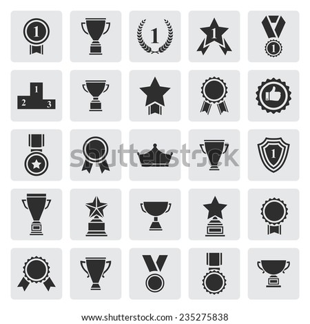 Big set of black vector award success and victory icons with trophies stars cups ribbons rosettes medals medallions wreath and a podium on a grey square - stock vector