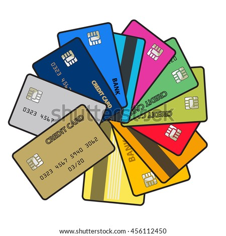 Big set of  bright color credit cards isolated on white background. Vector illustration.