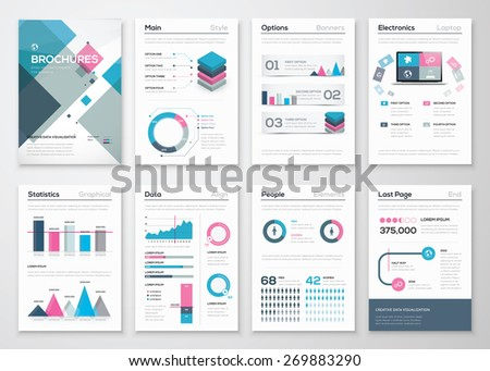Big set of business brochures and infographic vector elements. Illustrations of modern info graphics. Use in website, flyer, corporate report, presentation, advertising, marketing etc. - stock vector