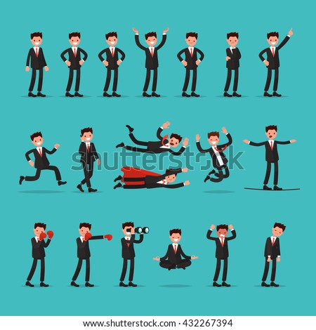 Big set of businessman character with different poses and actions. Employee indicates running, balancing, meditate, falls and much more. Vector illustration of a flat design - stock vector