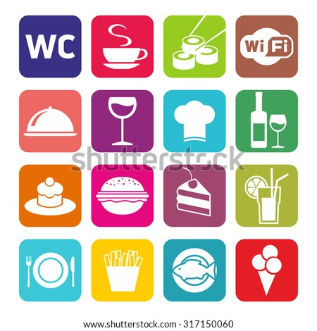 Big set of cafe and restaurant icons. Flat design.