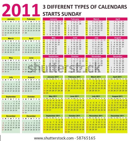 Big set of 2011 calendars. Different types (starts Sunday) - stock vector