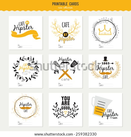 Big set of cards for restaurant and cafe menu design. Cooking logo and graphic elements in hipster style design. Vintage illustration template in vector. Fast Food. - stock vector