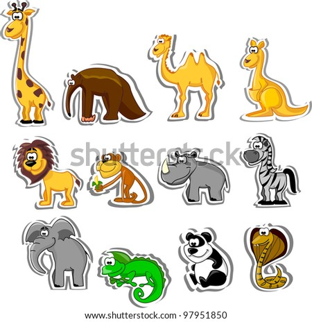 Big set of cartoon animals - stock vector