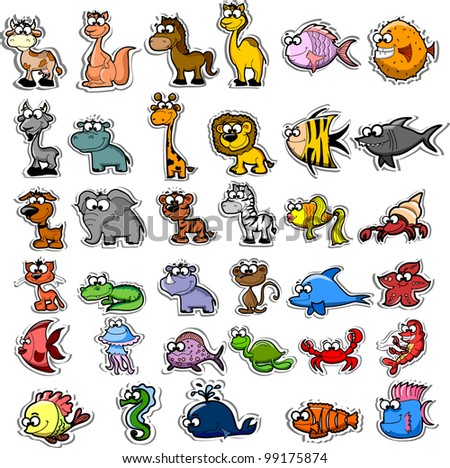 Big set of cartoon animals and fishes