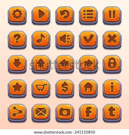 Big set of cartoon orange stone vector buttons for game UI - stock vector