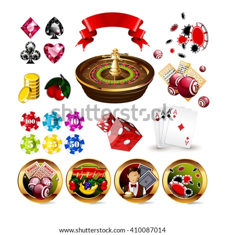 Big Set of Casino Gambling Elements and Icons Including Roulette Wheel, Playing Cards, Dice, Bingo Balls and Cards, Card Suits. Casino gambling Vector Illustration. Casino gambling isolated casino set - stock vector