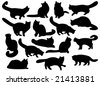 Big set of cat's silhouettes - stock photo