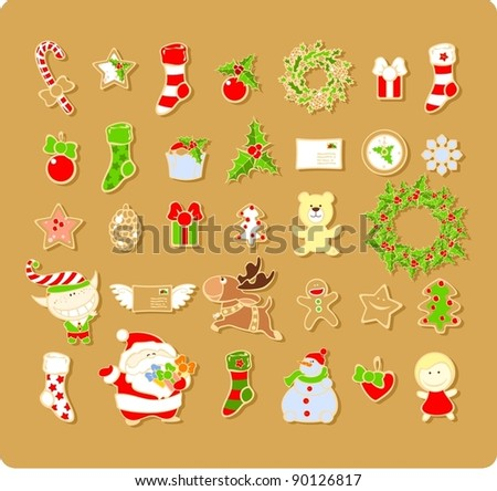 Big set of Christmas elements - stock vector