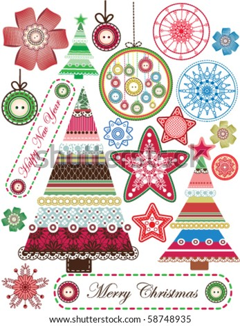 Big set of Christmas stuff - stock vector