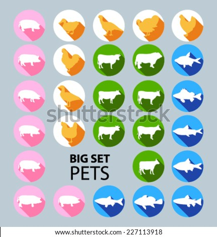 Big Set of colored icons for website and mobile application. Flat design. Vector. Editable. Pig, fish, cow, chicken.  Pets and food.  - stock vector