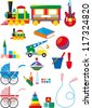 Big set of colorful children's toys isolated on white background - stock vector
