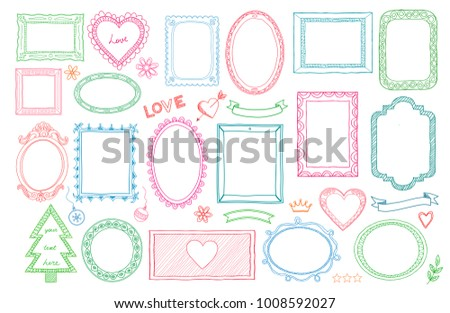 Big set of colorful hand drawn isolated frames and different elements: hearts, banners, flowers, lettering. Vector illustration