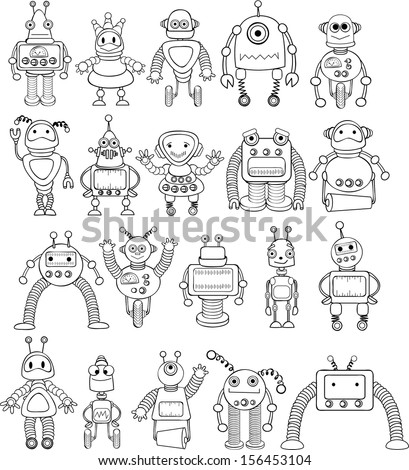 Big set of coloring cartoon robots - vector - stock vector