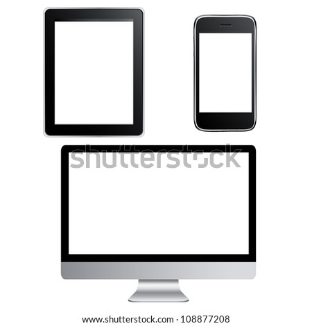 Big Set Of Contemporary Gadgets, Isolated On White Background, Vector Illustration - stock vector