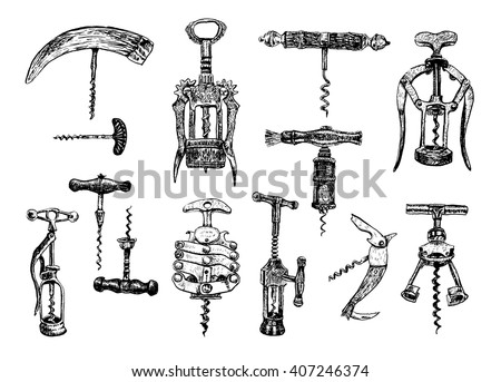 Big set of corkscrew. Vector hand drawn sketch. On a white background. Illustration in hand drawn ancient engraving style. Collection of ancient corkscrews - stock vector