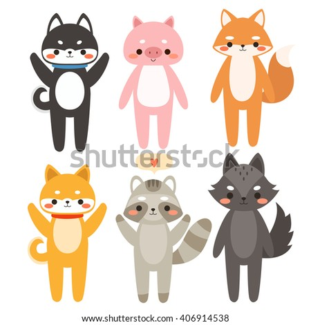 big set of cute cartoon animals. Illustration of cute dog, piggy, fox, raccoon and wolf. Can be used like stickers, for birthday cards and party invitations - stock vector