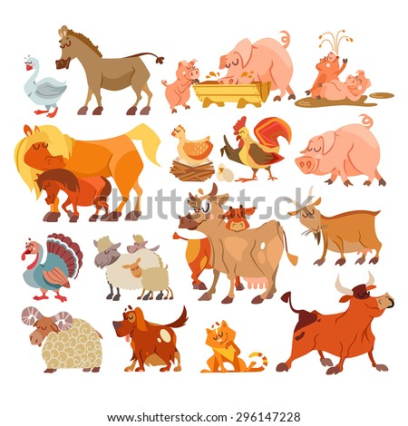 Big set of cute cartoon farm animals: donkey, pig family, horses, chicken and rooster, turkey, sheep family, cow, goat, dog, cat. Vector illustration with design elements isolated on white background - stock vector