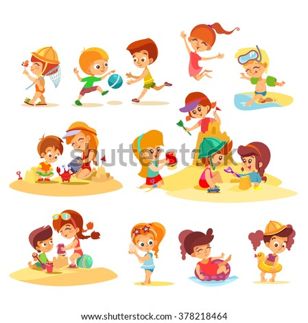 Big set of cute cartoon kids playing together on beach in groups. Little boys and girls playing with sand.Summer activities.Vector illustrations on white background - stock vector