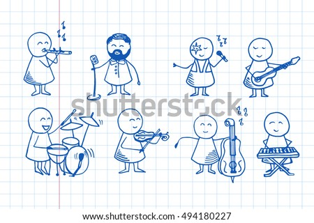Big set of cute doodle people playing different musical instruments. Party hand drawn background. Vector doodle Illustration  on notebook page.