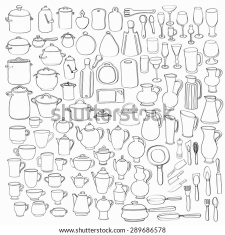 Big set of 98 cute hand drawn kitchen tools including different versions of casseroles, teapots, cups, glasses, cutting boards, pans, pots, and others. Doodles outline collection. Vector