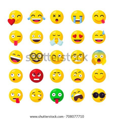 Big Set Cute Smiley Emoticons Set Stock Vector 708077710 Shutterstock