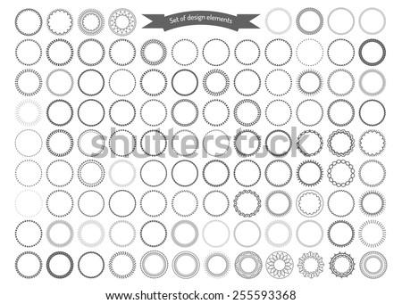 Big set of decorative round frames. Vector design elements. - stock vector