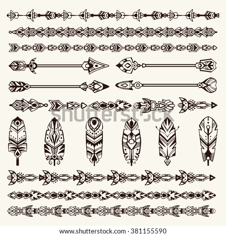 Big set of design elements in bohemian (boho) and tribal style: arrows, borders, feathers. - stock vector