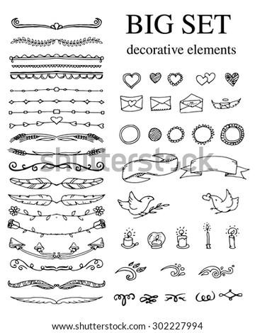 Big set of design elements on white background. Vector illustration - stock vector
