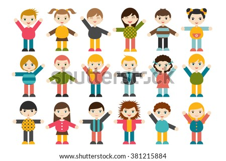 Big set of different cartoon children figures. Boys and girls on a white background. Minimalistic flat modern icon set portraits. Vector illustration