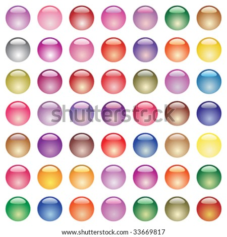 Big set of different colored glossy buttons