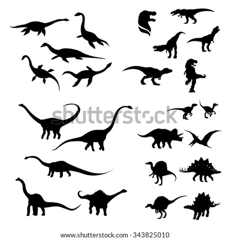 Big set of dinosaurs silhouettes. Black and white animals icons. - stock vector