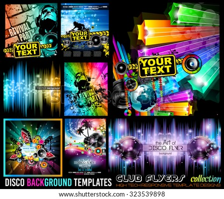 Big Set of Disco Club Flyer Template for your Music Nights Event. Ideal for TEchno Music, Hip Hop and House Performance Posters and flyers for Discotheques and night clubs. - stock vector