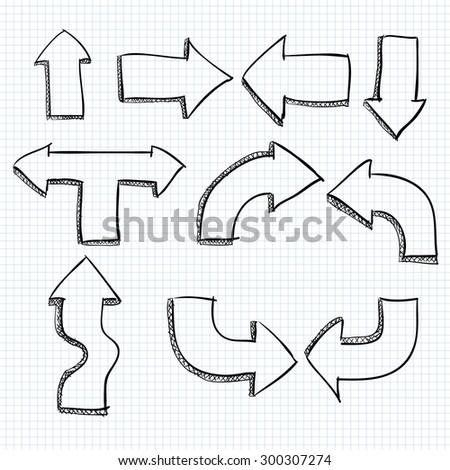 Big Set of Doodled Arrows - stock vector