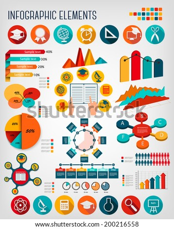 Big set of Education infographics elements. Vector.  - stock vector