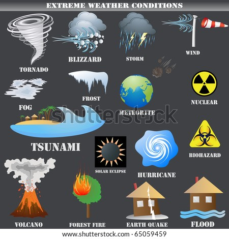 Big Set of Extreme weather conditions vector isolated on grey - stock vector