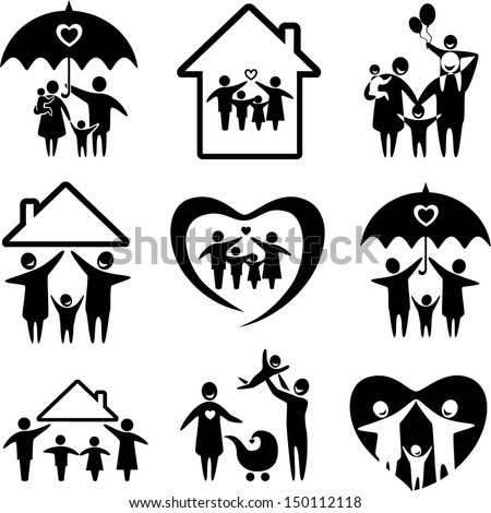 Big set of family icons. Happy family concepts: father, mother, daughter and son together. - stock vector