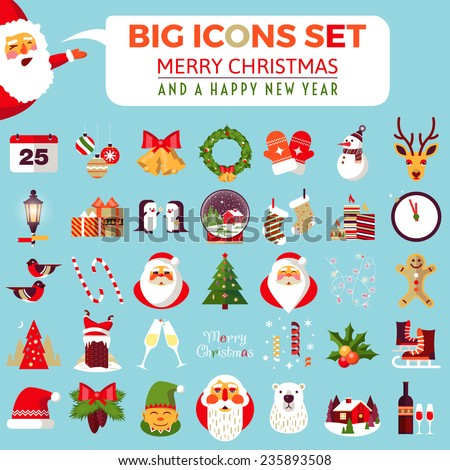 Big set of flat Christmas icons. Christmas and Happy New Year greeting card templates. Happy holidays. Christmas card, poster, banner, frame. Flat vector illustration - stock vector