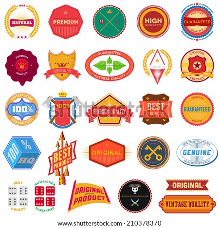 Big set of flat colored vintage Premium Quality labels - stock vector
