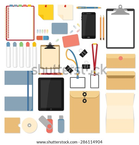 Big set of flat design items for business and graphic. Flat mockups for website design, infographics, web and mobile services and apps. - stock vector